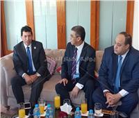 ياسر رزق يلتقي وزير الشباب والرياضة على هامش مونديال البلياردو