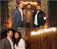 شاهد| تامر حسني ودرة.. في خطوبة هنادي مهنا وأحمد خالد صالح