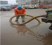 رفع تراكمات مياه الأمطار بالمحلة