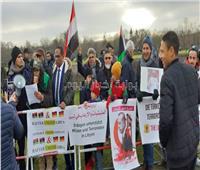 صور وفيديو| بأعلام البلدين.. الجاليتان الليبية والمصرية تنظمان وقفة لتأييد السيسي ببرلين