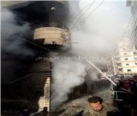 صور| السيطرة على حريق بمحل زيوت في الدقهلية