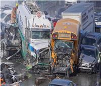 حادث مروع| تصادم 200 حافلة ضمنهم سيارة مدرسية وحاوية وقود في كندا