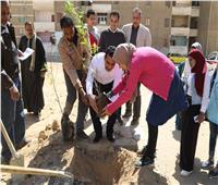 نائب محافظ قنا يشارك فريق مبادرة «بلدي بالألوان» زراعة الأشجار بمجمع المعاهد