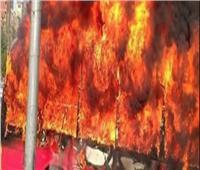 فيديو | 5 سيارات إطفاء.. وإزالة جميع حطام الأتوبيس المتفحم بمنطقة القبة