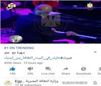 قناة الثقافة المصرية تحقق التريند الأول على اليوتيوب وتويتر