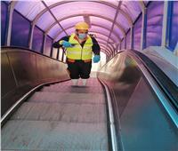 صور| مترو الأنفاق يواصل التعقيم وتوعية الركاب بفيروس كورونا