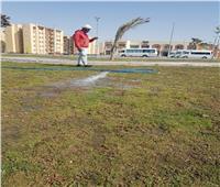 غمر المسطحات الخضراء بـ 6 أكتوبر لمنع تجمعات المواطنين بأعياد الربيع
