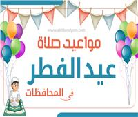 إنفوجراف| مواعيد صلاة عيد الفطر المبارك في جميع المحافظات