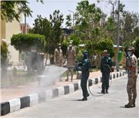 صور| الجيش الثاني يقوم بعمليات تعقيم وتطهير مدينة الطالبات بجامعة القناة