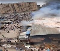 النيران تلتهم عشرات المحلات والأكشاك في حريق سوق توشكى بحلوان