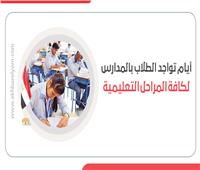 إنفوجراف| أيام تواجد الطلاب بالمدارس لكافة المراحل التعليمية