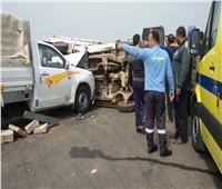 إصابة شخصين إثر حادث تصادم سيارتين بمحور الأوتوستراد