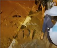 فيديو| «حدائق أكتوبر» تغرق في المياه بعد كسر ماسورة «خط الزراعة»