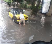 صور| ارتباك مروري بطريقي أبو قير وكورنيش الإسكندرية بسبب الأمطار