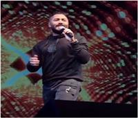 صور  بعد صلحهما.. تامر حسني في حفل بالشيخ زايد برفقة بسمة بوسيل