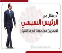 إنفوجراف | 7 رسائل من الرئيس السيسي للمصريين حول موجة كورونا الثانية