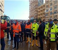 رسلان ومحافظ الإسكندرية يتابعان شفط مياه الأمطار من الشوارع| صور