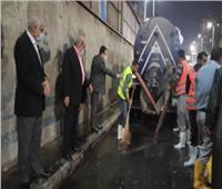محافظ الجيزة يتفقد مجهودات شفط مياه الأمطار بالمحاور المرورية | فيديو