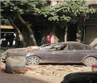 تهشم سيارة ملاكي سقط عليها سور بلكونة بمنطقة الظاهر