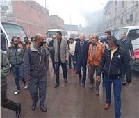رئيس مصلحة الجمارك يتفقد آثار حريق مخزن ميناء الإسكندرية