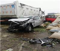 صور| مصرع شخصين في تصادم 7 سيارات بطريق الإسكندرية الساحلي