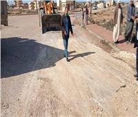 هبوط أرضي بطريق سجن برج العرب غرب الإسكندرية