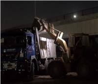 رفع إشغالات طريق المنشية تمهيدًا لبدء أعمال الرصف