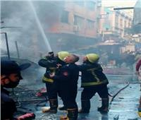 حريق سوق التوفيقية| الحماية المدنية: الدفع بـ11 سيارة وجارى إخماد الحريق