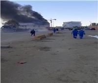 رئيس الهيئة العامة للبترول يصل موقع حريق مستودعات عجرود