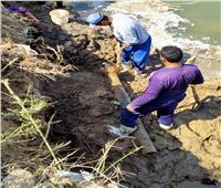 إصلاح كسر مفاجئ بعد انهيار جزئي بجسر ترعة السويس