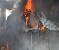نيابة المنيا تعاين موقع حريق حظيرة ماشية