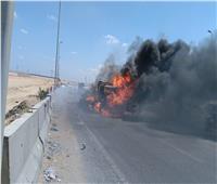السيطرة على حريق سيارة بطريق الواحات بدون إصابات