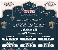 إمساكية شهر رمضان ٢٠٢١  مواعيد الإفطار والسحور ثالث يوم رمضان