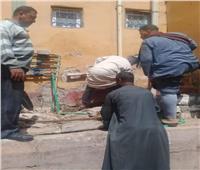 حملة نظافة ومتابعة للإجراءات الاحترازية بقرية في المنيا