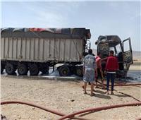 إصابة شخصين في حريق سيارة نقل بطريق السويس