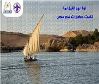 طلاب جوالة جامعة حلوان ينظفون مياه نهر النيل