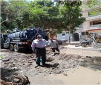 إصلاح ماسورة مياه وتركيب أغطية الصرف الصحي في الحوامدية | صور