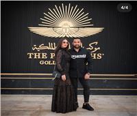 درة وزوجها يزوران المتحف القومى للحضارة| صور