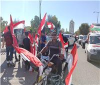 مسيرة في غزة بالأعلام المصرية ترفع صور «السيسي».. فيديو