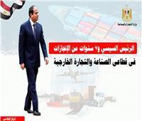الرئيس السيسي و7 سنوات من الانجازات في قطاعي الصناعة والتجارة الخارجية