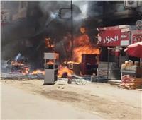 «المعمل الجنائي» يعاين موقع حريق داخل محل ومطعم بمدينة أبو قرقاص