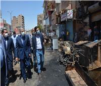 محافظ المنيا يتفقد موقع حريق أحد المطاعم بمركز أبوقرقاص | صور