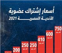 إنفوجراف| أسعار اشتراك عضوية الأندية المصرية 2021