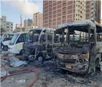 تفحم 4 أتوبيسات في حريق بجراج شرق الإسكندرية| صور