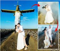 أغرب مواقف الزفاف.. عروسان يستخدمان 900 لتر ماء لالتقاط الصور