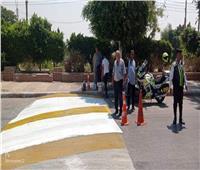 بدء حملة تجميل وتلوين مطبات وأعمدة الإنارة بشوارع بالمنيا