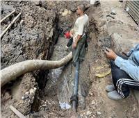إصلاح كسر ماسورة مياه في العمرانية بالجيزة  صور