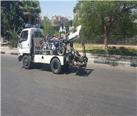 «أوناش المرور» ترفع 54 سيارة ودراجة نارية متهالكة من الشوارع والميادين