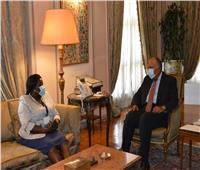 سامح شكري يستقبل وزيرة الخارجية والتعاون الدولي لجنوب السودان
