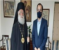 وزير خارجية قبرص يلتقي بالبابا ثيودروس الثاني بطريرك الإسكندرية
